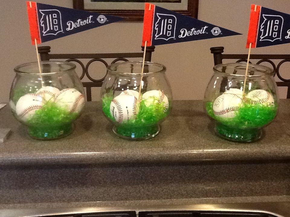 Baseball themed centerpiece inspirations