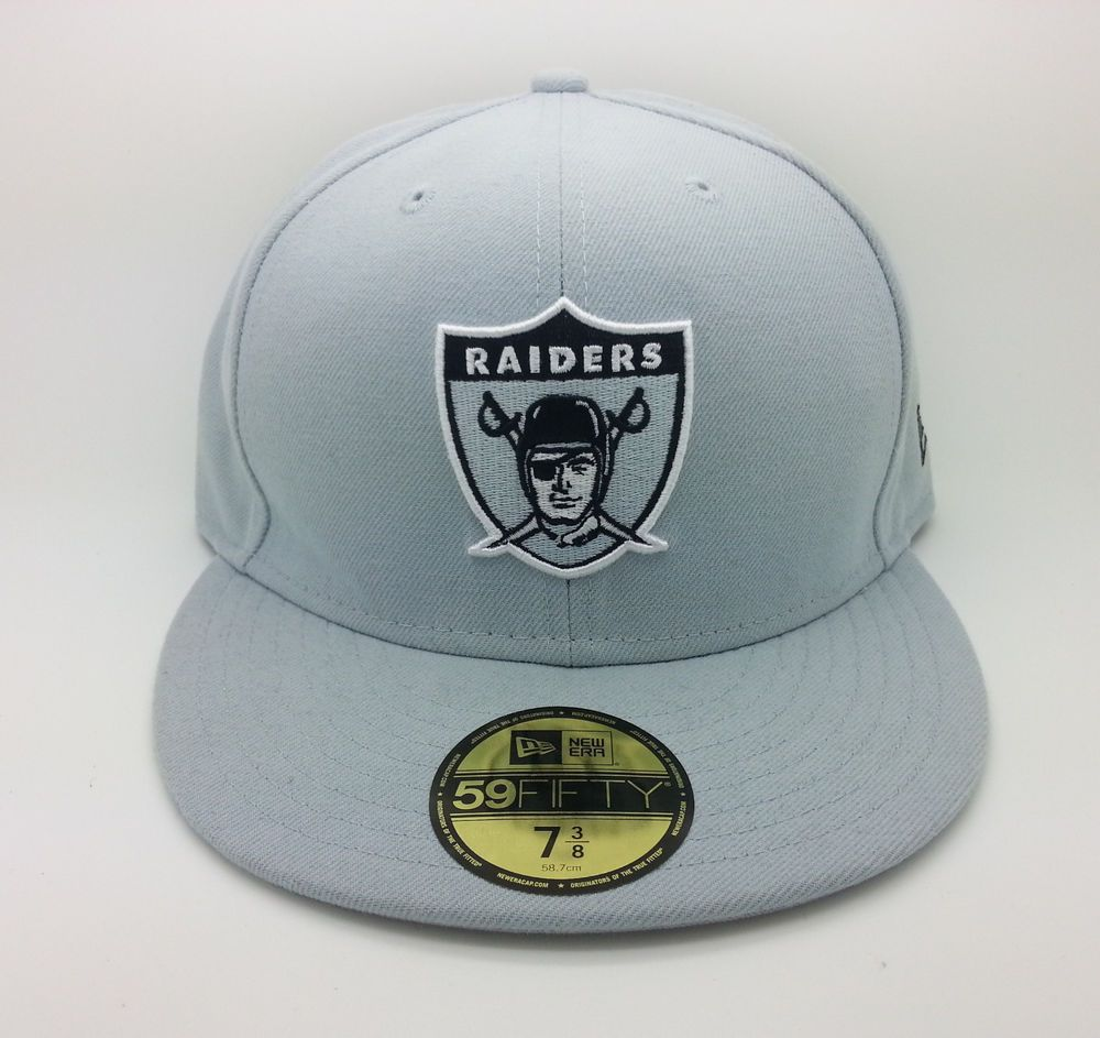 OAKLAND RAIDERS NFL NEW ERA 59 FIFTY LOGO FITTED GRAY HAT/CAP (SIZE 7 3/8)--NEW #NEWERA59FIFTY #OaklandRaiders