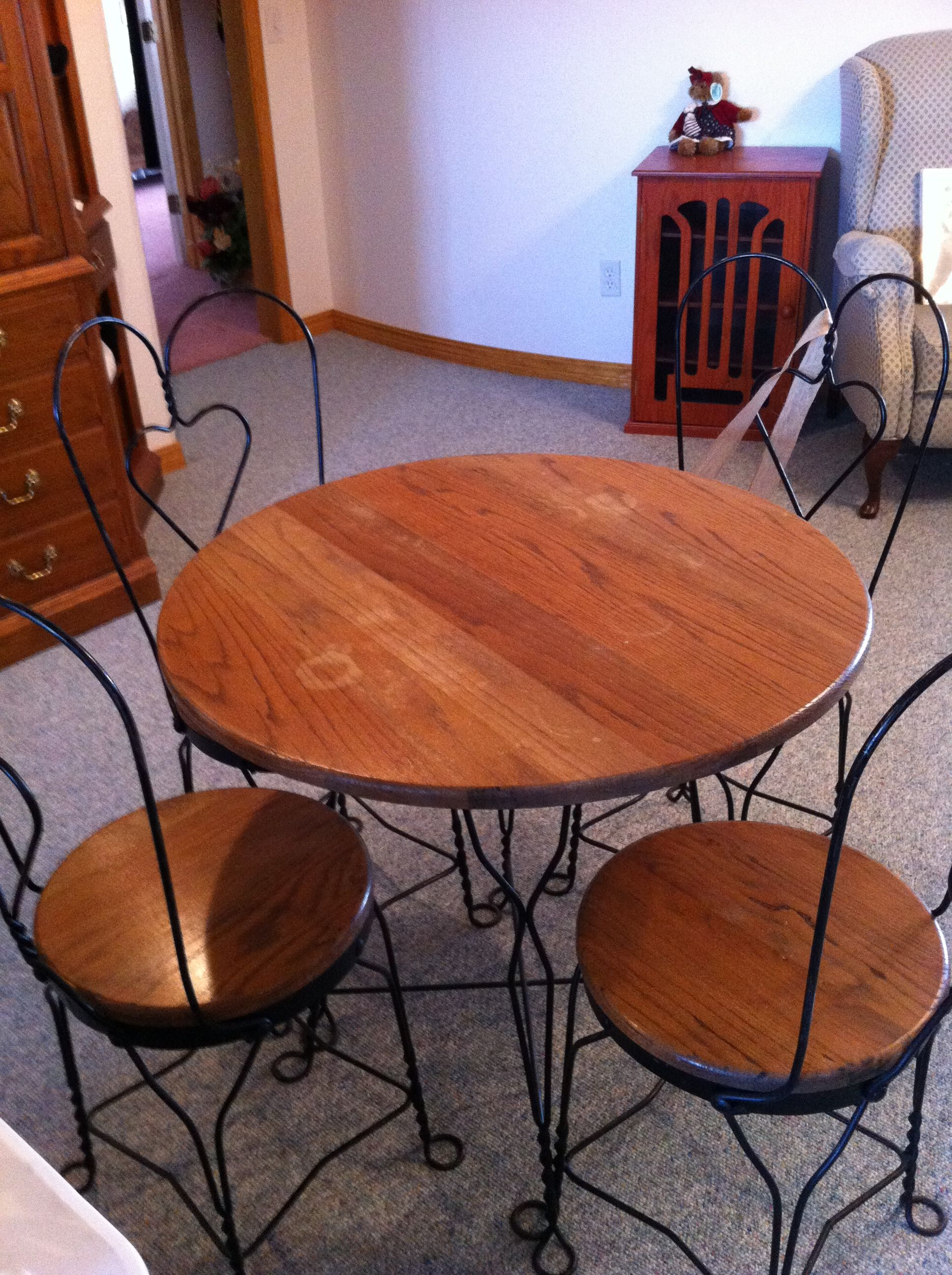 Antique Ice Cream Parlor Table And Chair For At The