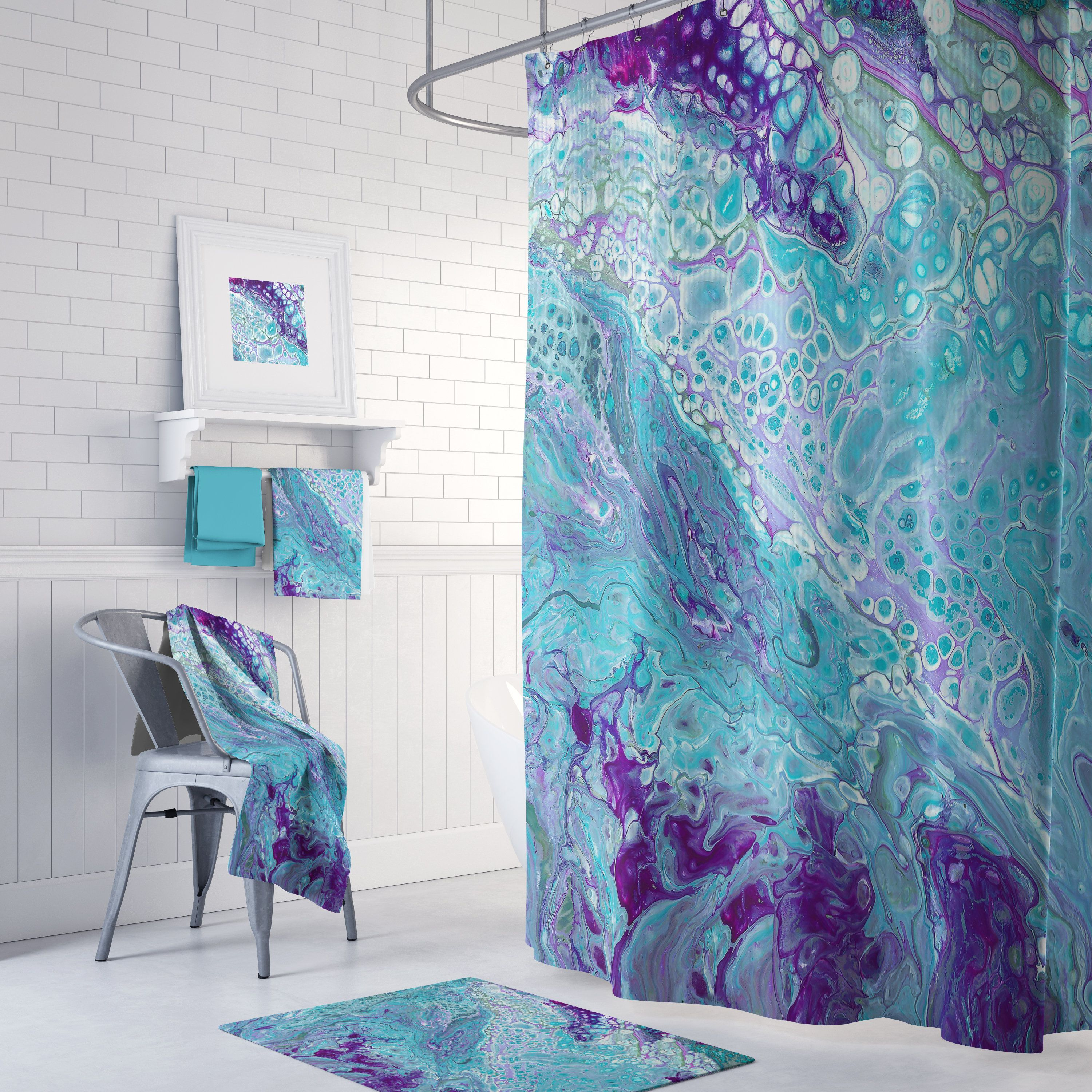 Turquoise And Purple Marble Shower Curtain Set Modern Marble