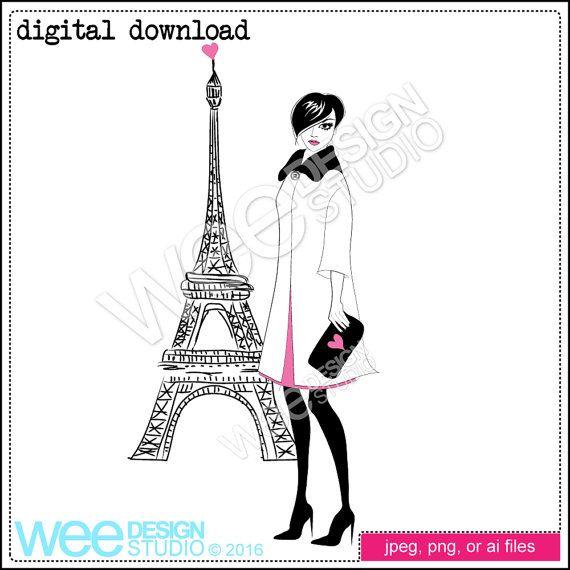 Paris Fashion Illustration Sketch Digital Clipart Download