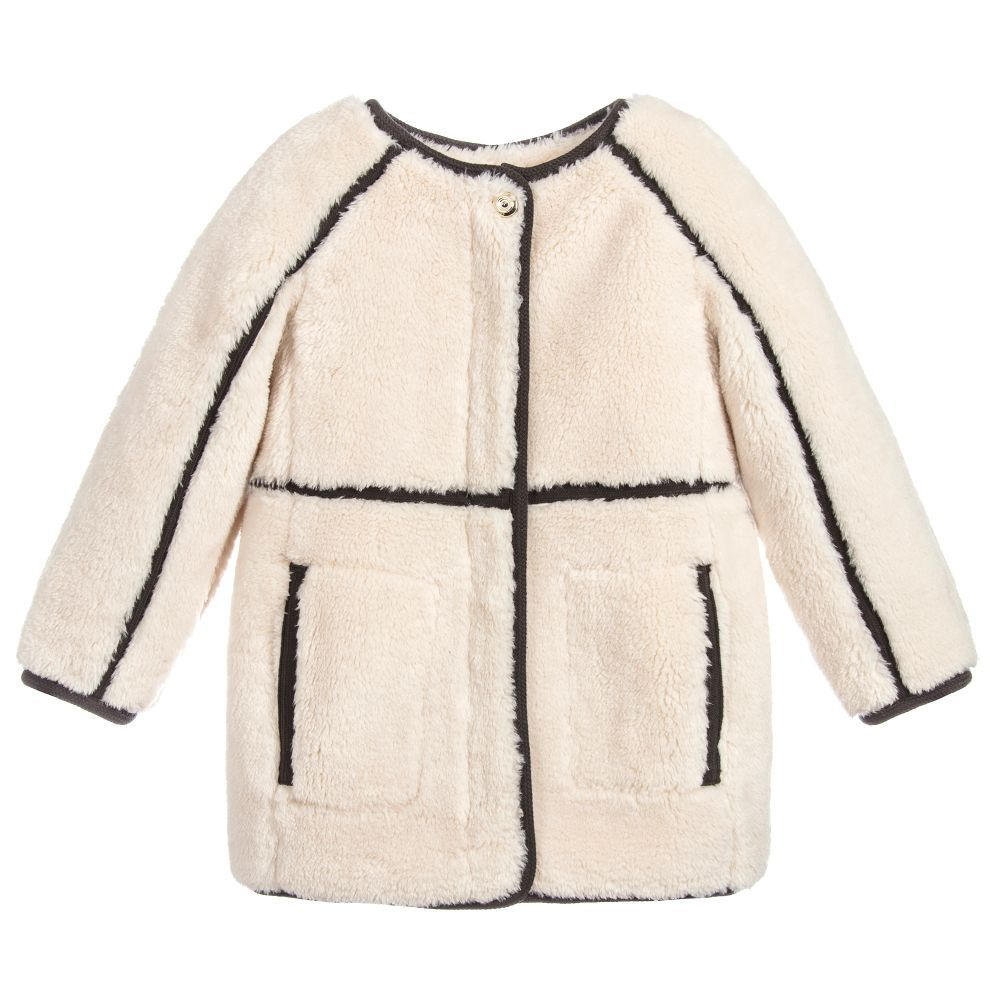 57e88684af34 Girls Ivory Fur Coat for Girl by Chloé. Discover more beautiful ...