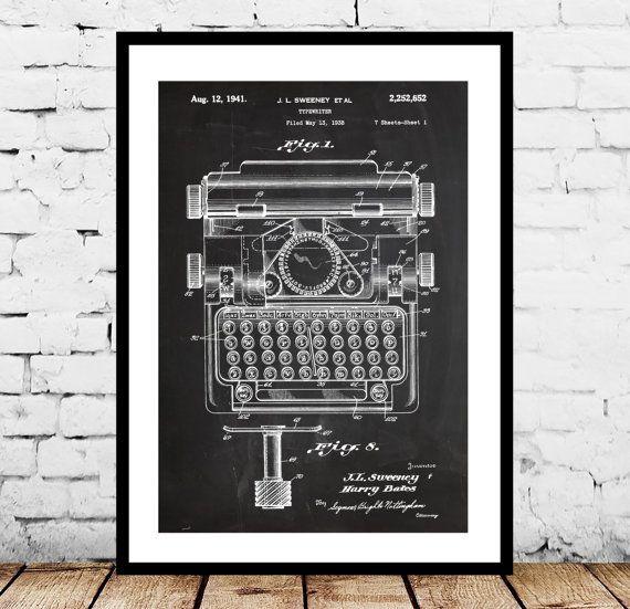 Type, Typewriter Poster, Typewriter Patent, Typewriter Print, Typewriter Art, Typewriter Blueprint, Typewriter Wall Art, Typewriter decor