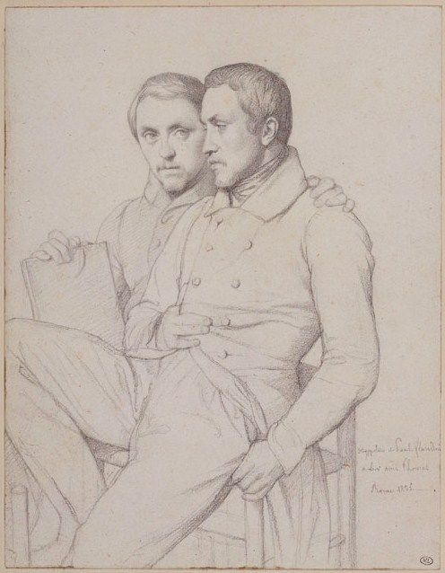 Jean-Hippolyte Flandrin (1809–1864), Self-Portrait with the Artist's Brother, Jean-Paul Flandrin, 1835.
