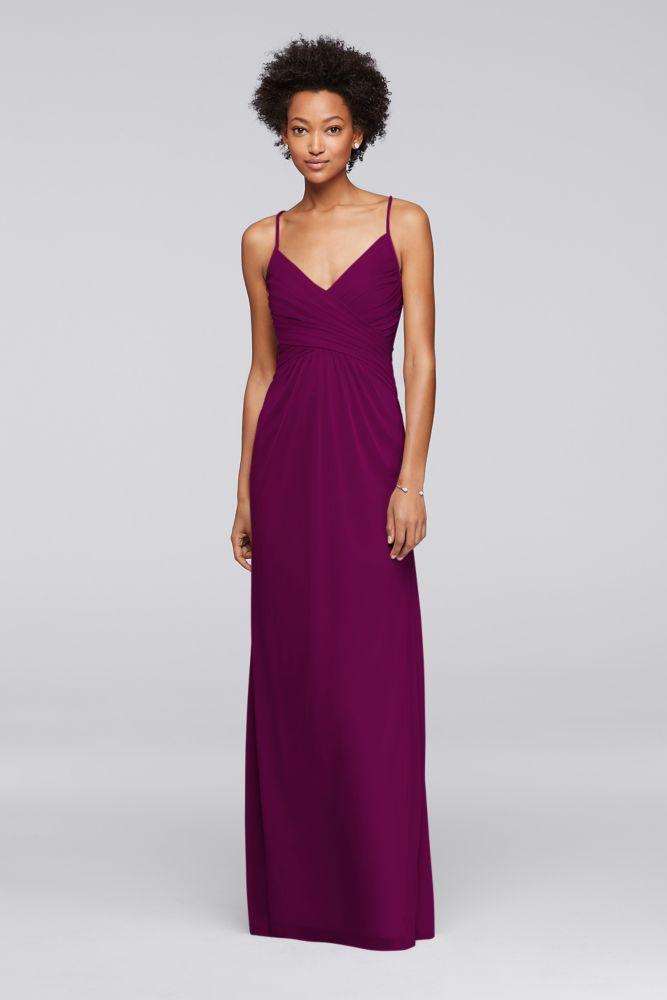 Mesh Adjustable Tie-Back Bridesmaid Dress - Sangria (Red), 24 ...