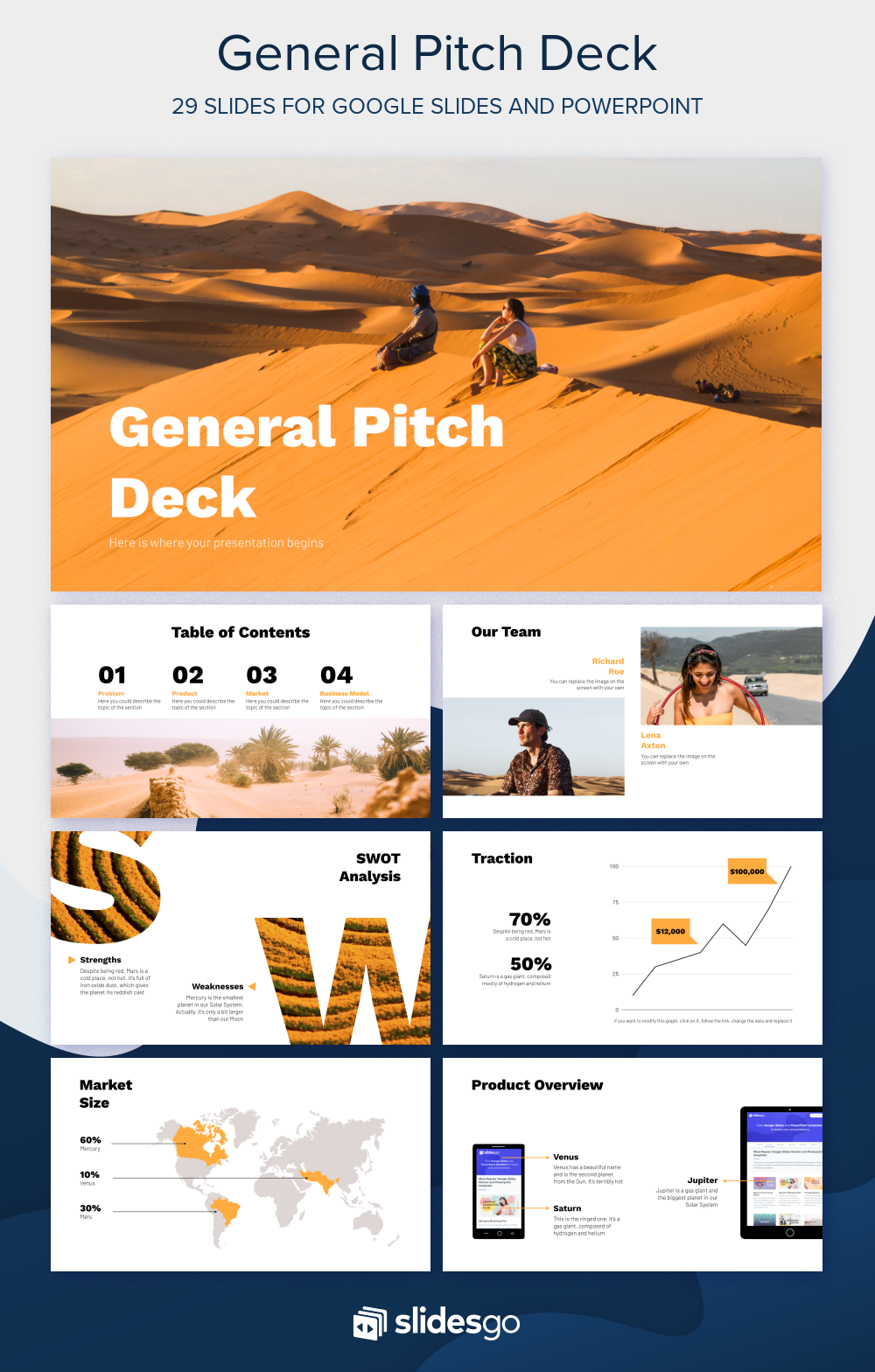 General Pitch Deck Presentation Free Google Slides Theme And Powerpoint Template In 2020 With Images Deck Good Cv Presentation Template Free