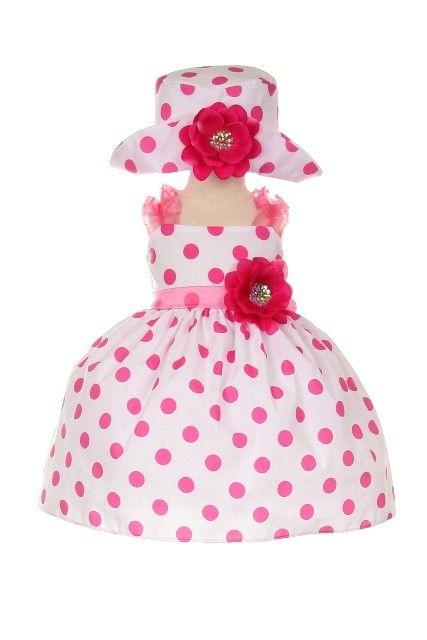 Bezauberndes Babykleid Giulia weiß mit Punkten rosa pink Mütze Kleid ...