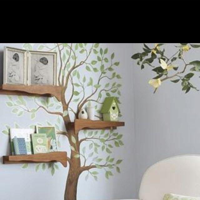 Nice Use Of Tree Trunk To Book Shelves Tree Wall Art Nursery Nursery Decor