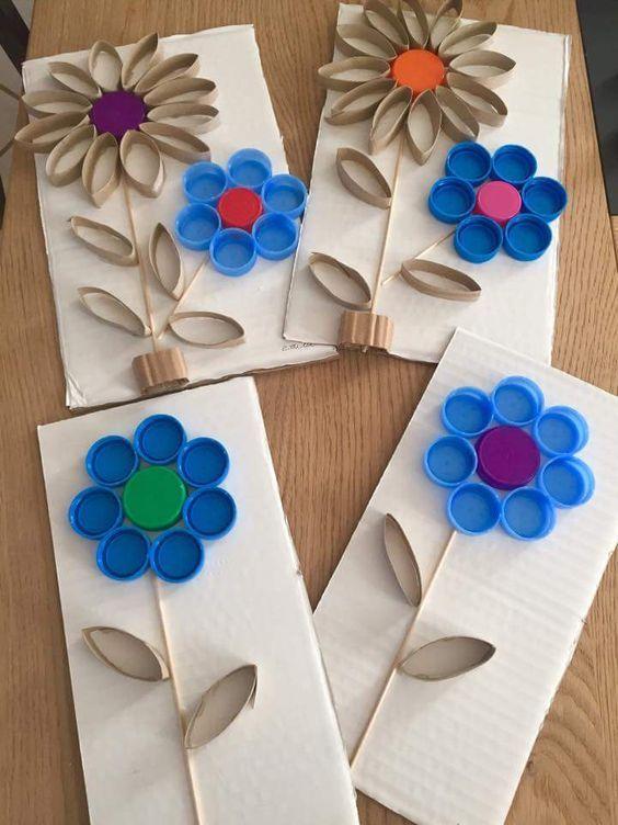 Flores Con Tapas Hogar Diy Art Projects Crafts For Kids Y Crafts