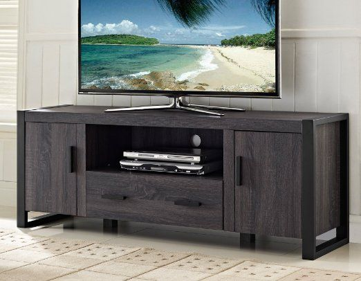 New 60 Modern Industrial Tv Stand Console Charcoal Black