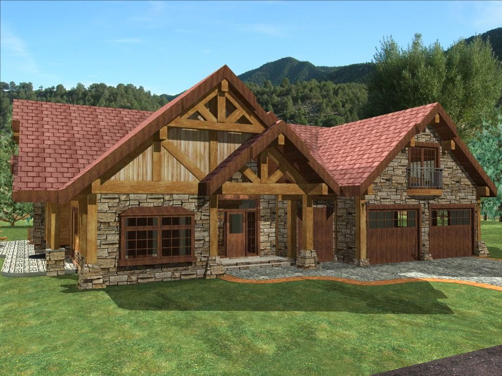 Single story timber frame homes timber home for the for Single story log cabin homes