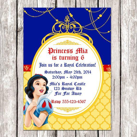 Snow White Photo Invitation Snow White Birthday Party Diy