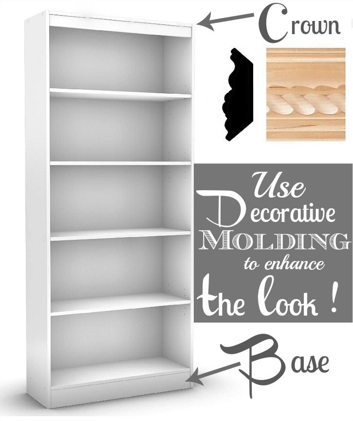 Crown Molding To Laminate Bookcases Bookcase Makeover Bookcase