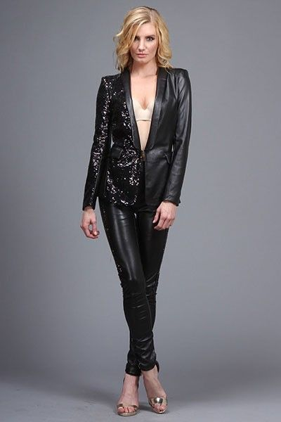Leather and sequined Blazer/Leather pants ALL avail at www.ChicBella.Storenvy.com