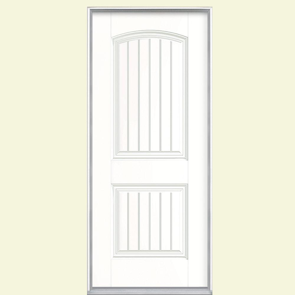 Cheyenne 2 Panel Right Hand Inswing Painted Smooth Fiberglass Prehung Front  Door No Brickmold, Ultra Pure White