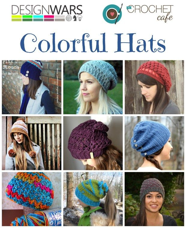 Design Wars Colorful Hats - These colorful and cozy crocheted hats will brighten a cloudy day and put a smile on your face. Our Hat Challenge this week inspired Emily at The Crochet Cafe to put this roundup together from our design community.