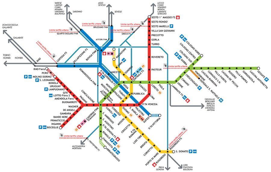 Milan Metro Karten Zug Karte Planer
