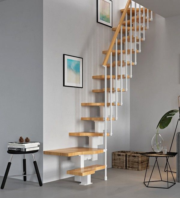 Best Mini Bianco With Natural Beech Treads And Handrail Space 400 x 300