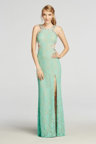 Halter Lace Prom Dress with Beaded Cut Outs Style 3622CP6D | Prom ...