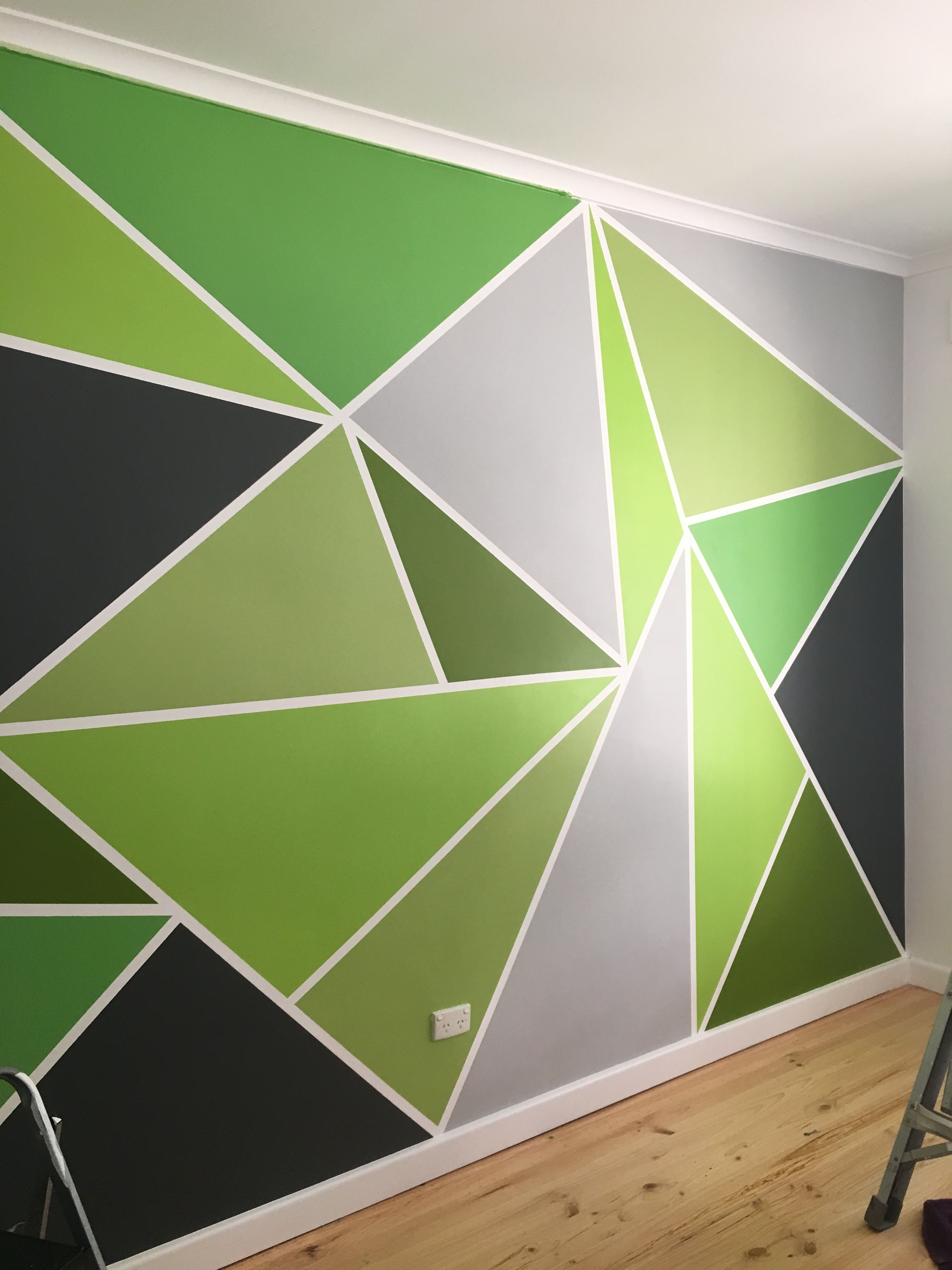 Mr 14 39 s bedroom with a new painted feature wall room - Geometric wall designs with paint ...