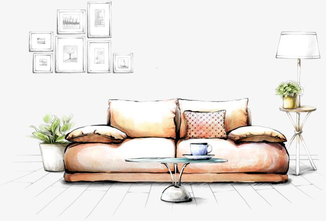 Hand Painted Living Room Sofa Renderings Png And Psd Drawing Interior Interior Design Renderings Interior Design Sketches