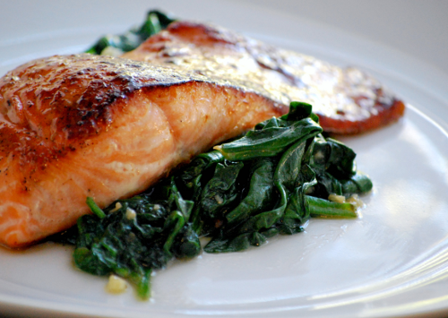 Roasted Brown Sugar Cumin Salmon with Wilted Spinach