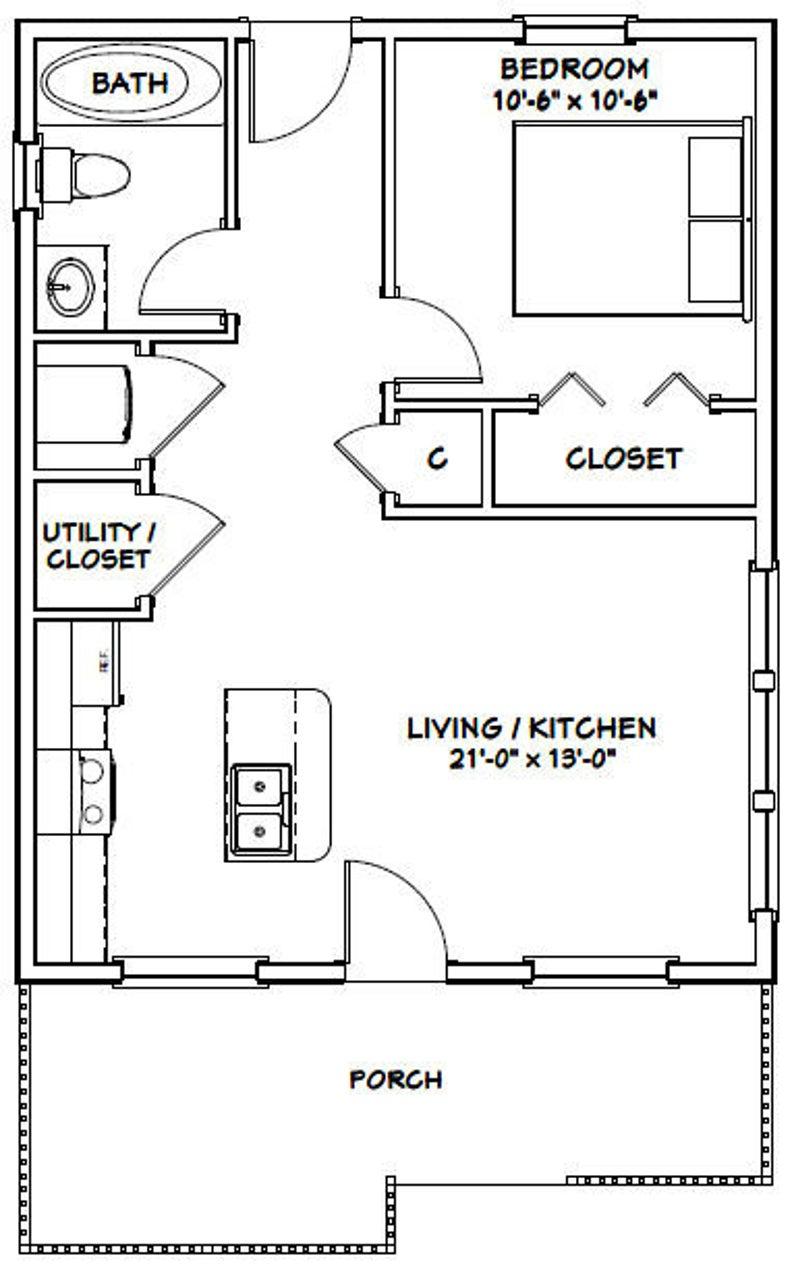 22x28 House 1 Bedroom 1 Bath 616 Sq Ft Pdf Floor Plan Etsy Tiny House Floor Plans Tiny House Plans Small House Floor Plans