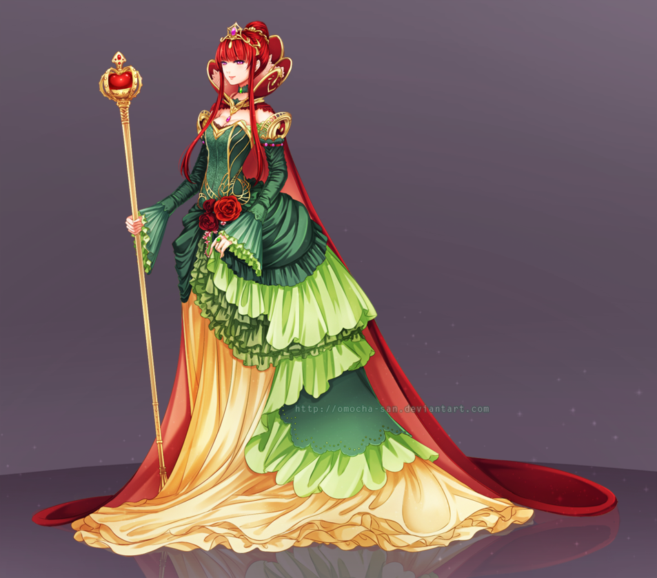 by omochasan // fantasy, woman, queen, character, dress
