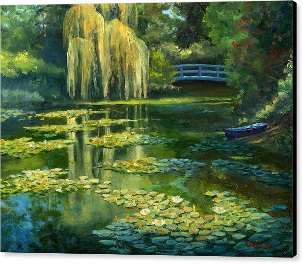 Superbe Monet Canvas Print Featuring The Painting Monet Water Lily Garden IIi By  Elaine Farmer