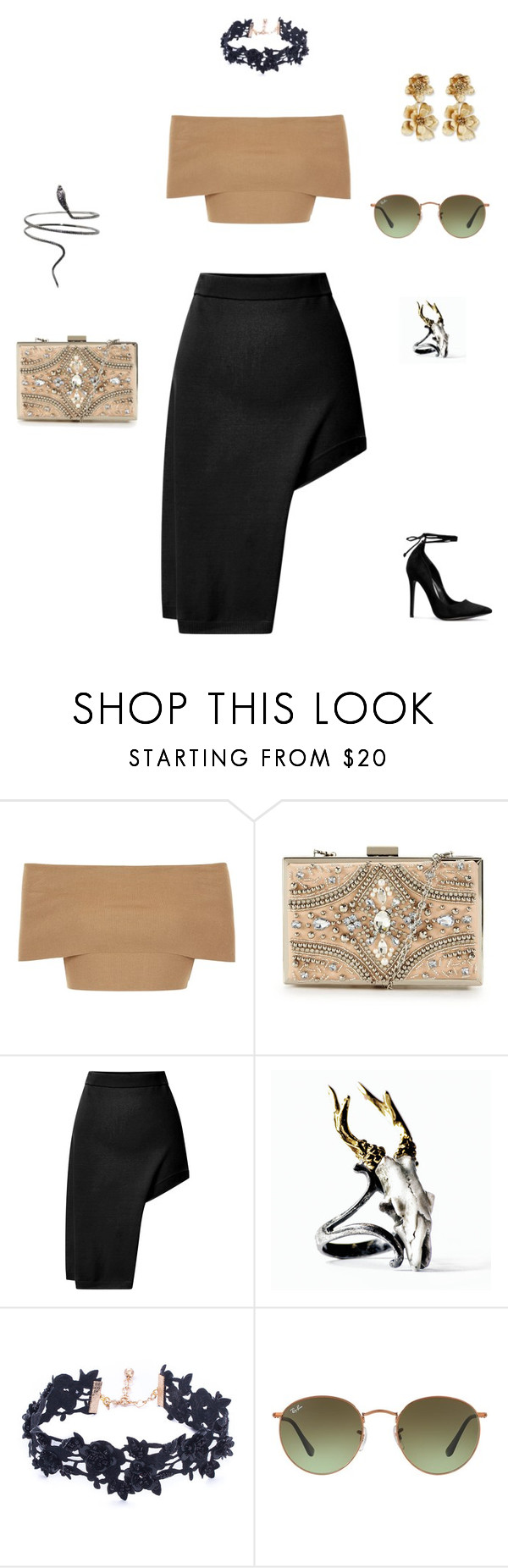 """""""Desert Flower"""" by hrockholt ❤ liked on Polyvore featuring Blue Vanilla, Forever Unique, Opening Ceremony, Macabre Gadgets, Vanessa Mooney, Ray-Ban and Oscar de la Renta"""