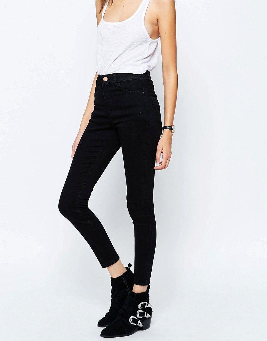 1ff999dffca 2604 Изображение 1 из Черные джинсы скинни с завышенной талией ASOS Ridley