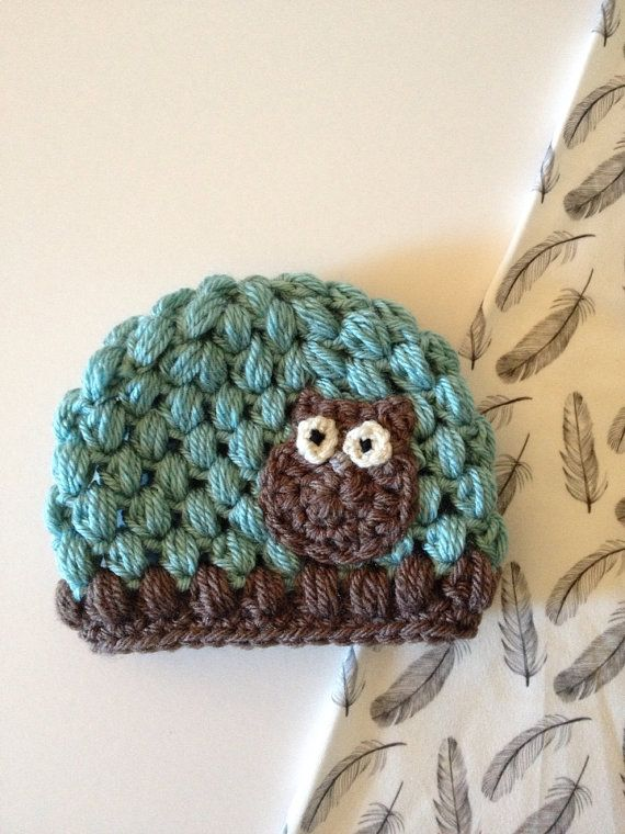 Blue and Brown Puff Owl Hat by Nooches on Etsy d5a9db0aff2