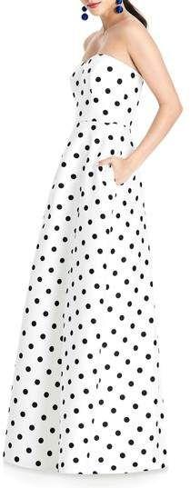 Strapless Dot Sateen Gown #Bold#polka#ships