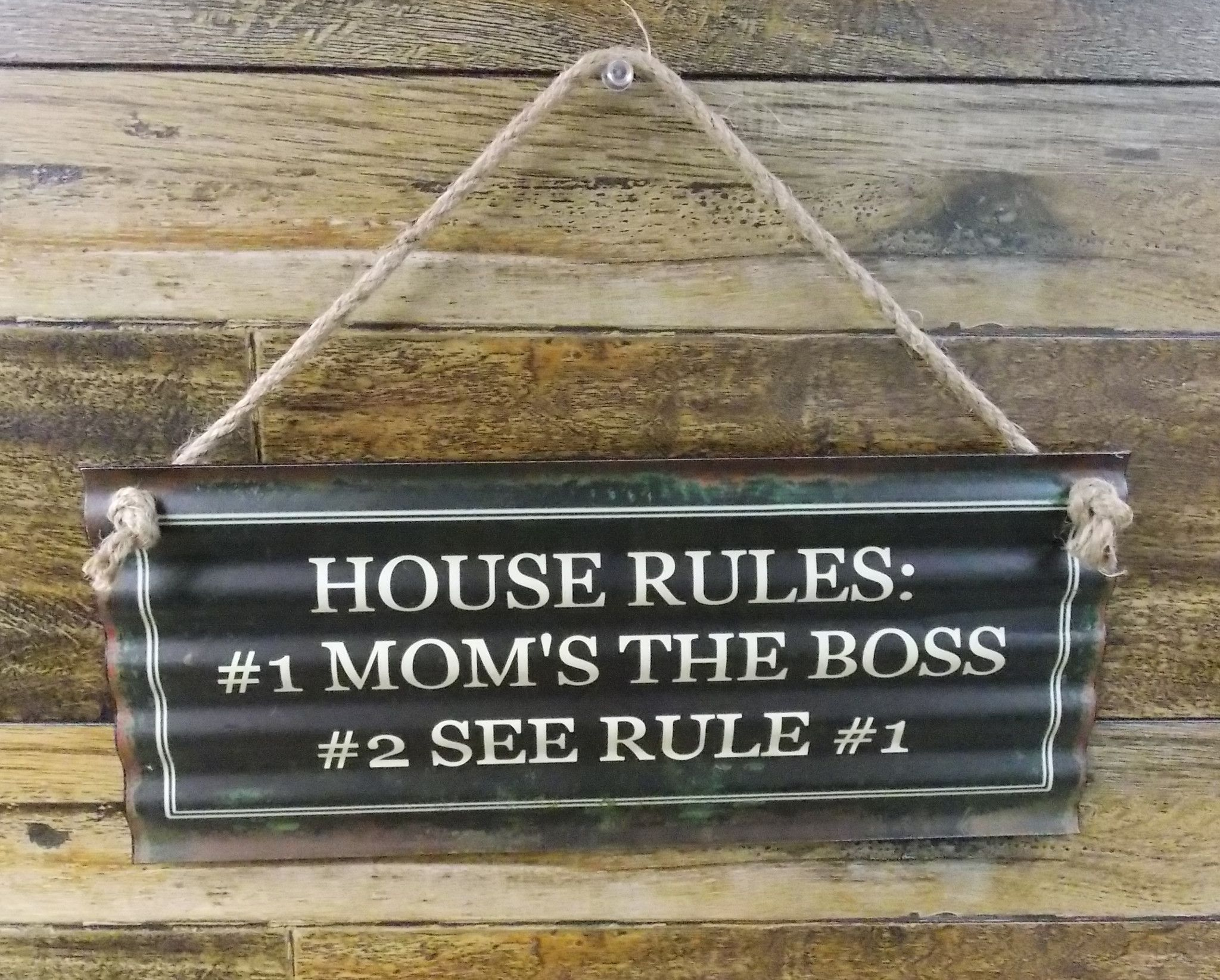 """Metal Home Sign Decor Corrugated Wavy Metal Tin Sign """"house Rules 1 Mom's The Boss 2"""