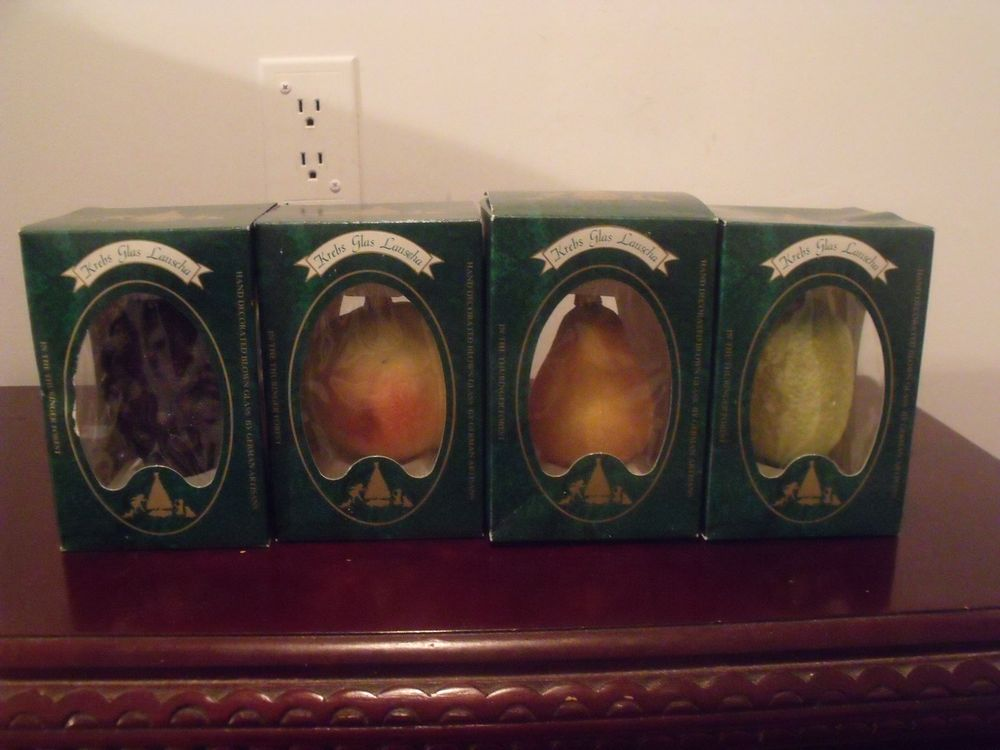 4 Different Krebs Glas Lauscha Blown Glass VINTAGE  Fruit  Ornaments