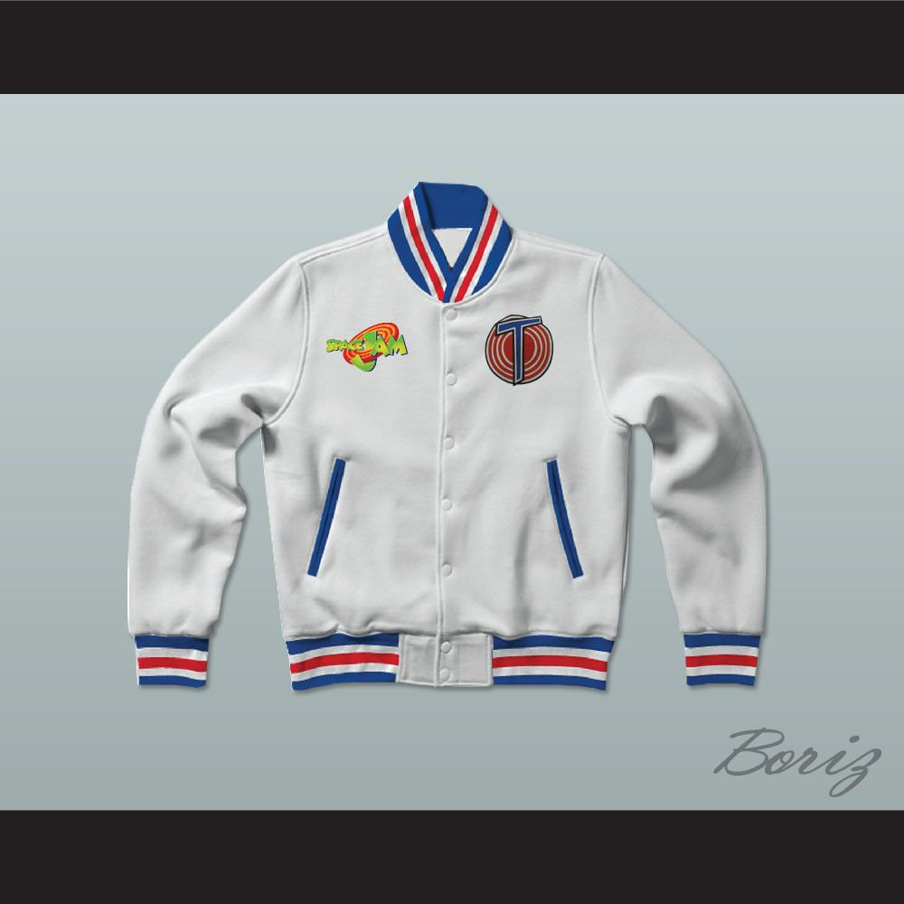 f1de1490668016 ... Michael Jordan Space Jam Tune Squad White Letterman Jacket-Style  Sweatshirt.
