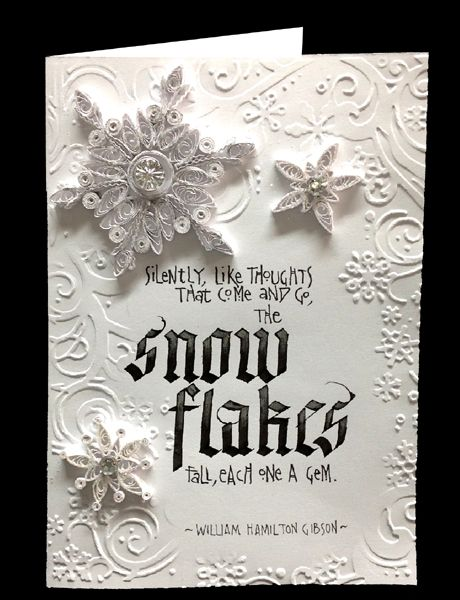 "Misc Challenges Cards ""MC Oct/13 - Quill Snowflakes - Blackletter card"""