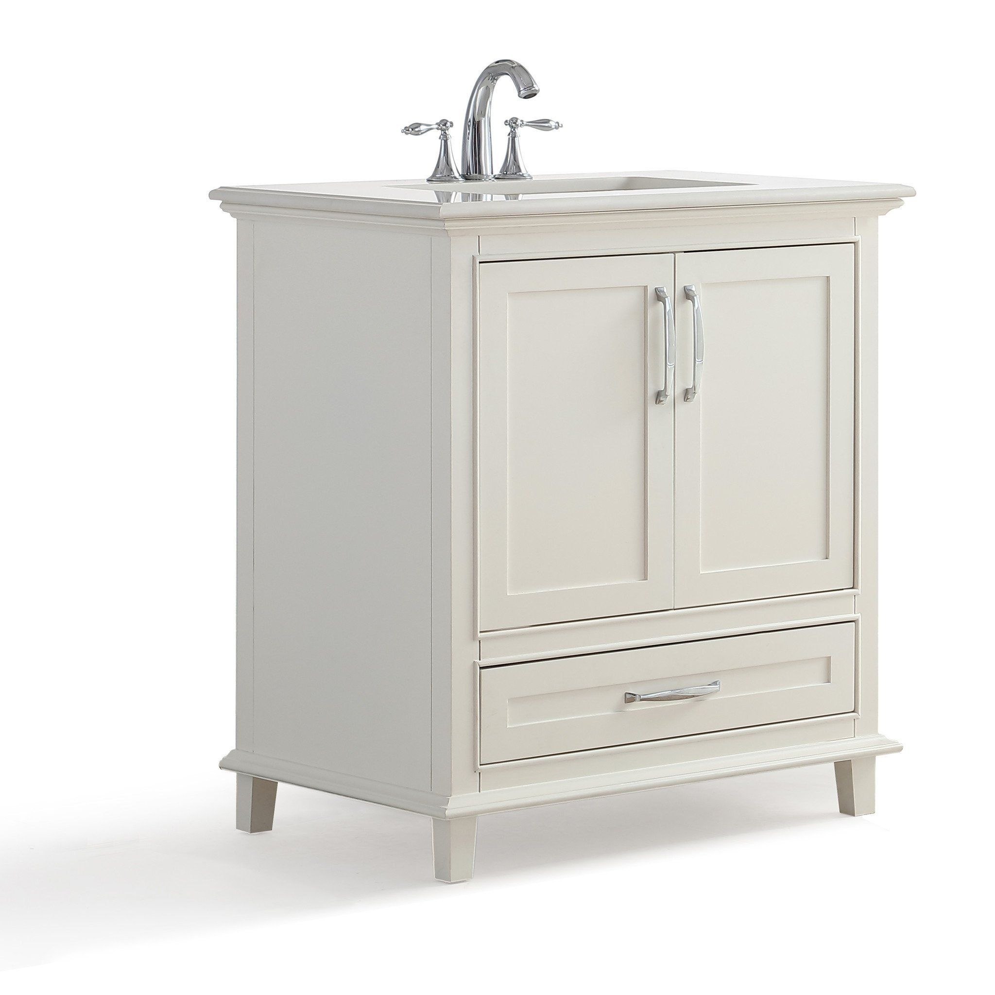 Ariana 30 Inch Bath Vanity In Soft White With Bombay White