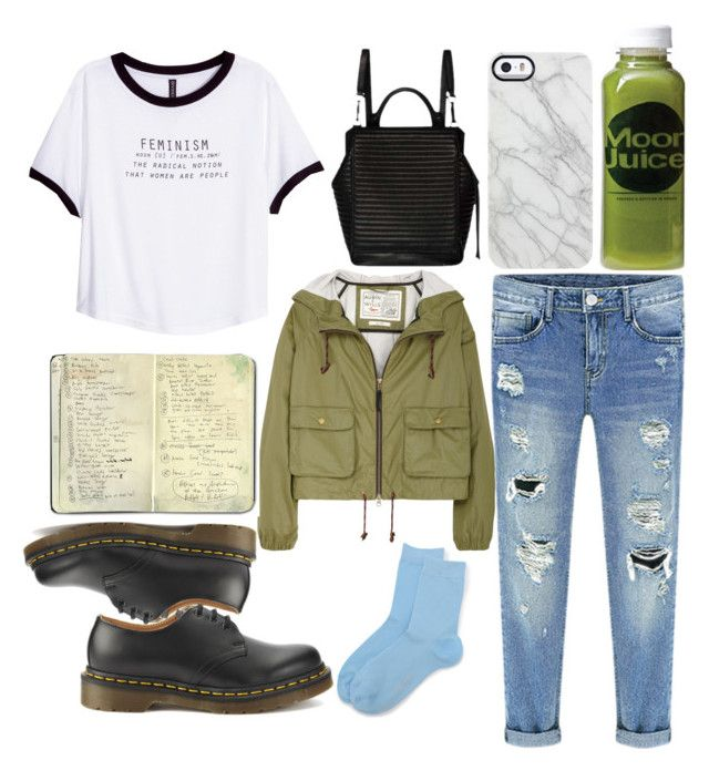 """""""Untitled #55"""" by meow-hailey ❤ liked on Polyvore featuring Falke, Aubin & Wills, H&M, Dr. Martens, Moleskine, Calvin Klein, Uncommon and Moon Juice"""