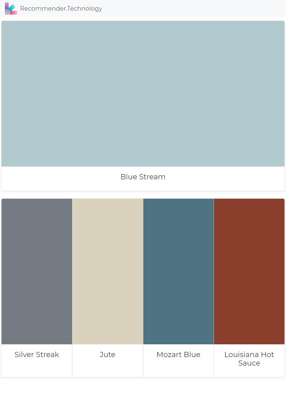 Blue Stream Silver Streak Jute Mozart Blue Louisiana Hot Sauce Paint Colors Benjamin Moore Paint Color Palettes Perfect Paint Color