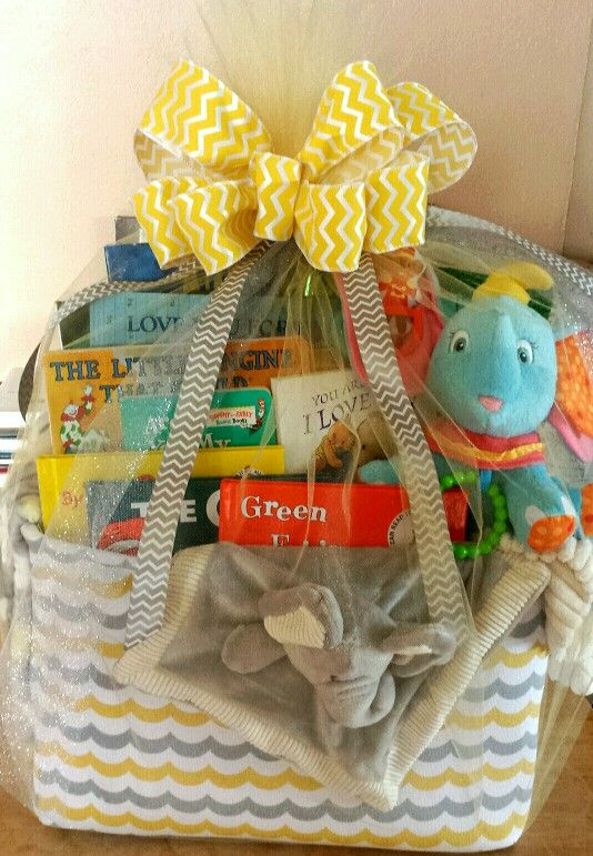 Baby's First Library Basket | Baby shower baskets, Book ...