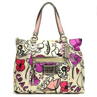 Special Buy Coach Poppy Petal Flower Floral Print Glam Shopper Bag Tote  16306 - Handbags 76786bb79d3c9