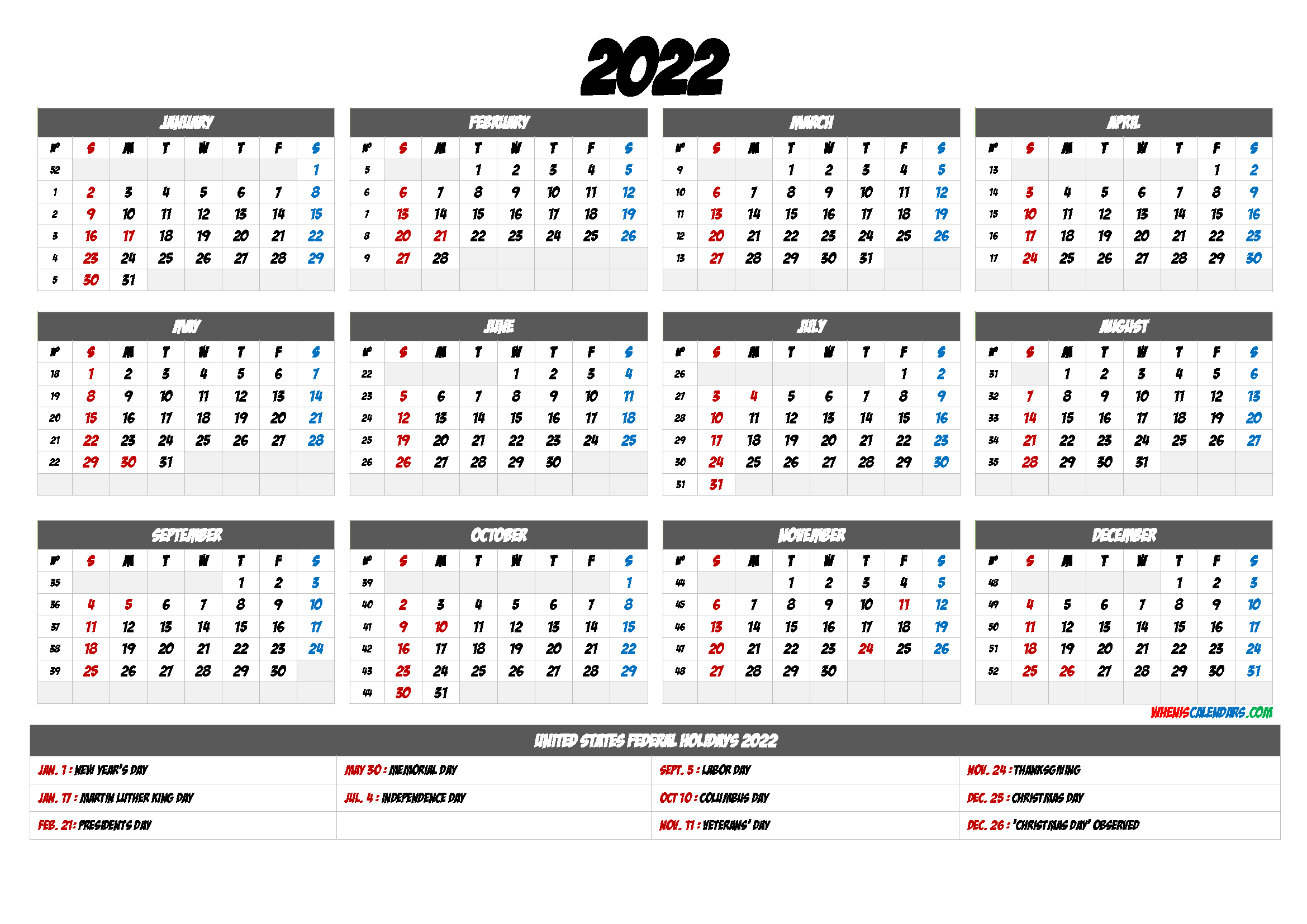 Free Printable 2022 Calendar with Holidays - 6 Templates ...