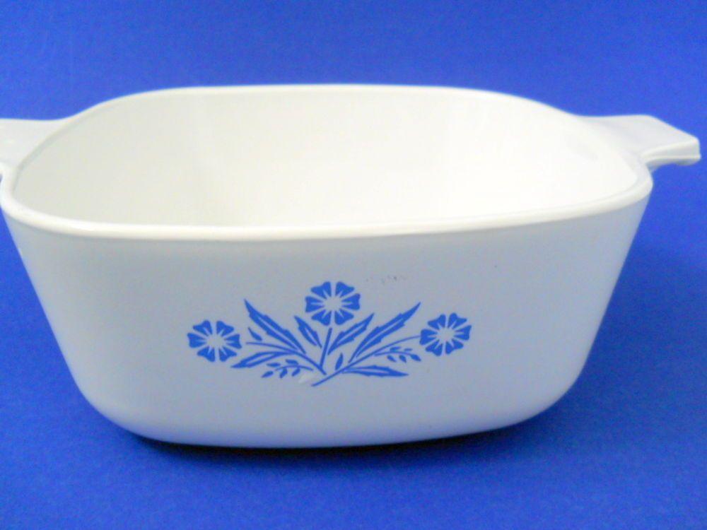 Corning Cornflower Blue 1.5 Qt. Casserole Dish Blue Flowers Handles 6.75 inches #Corning