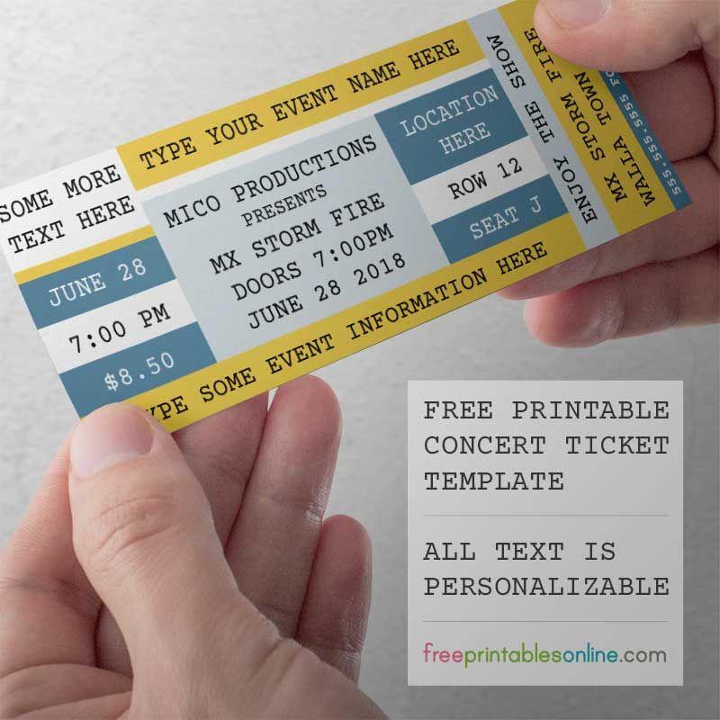Free Printable Concert Tickets Concert Tickets Concert Ticket