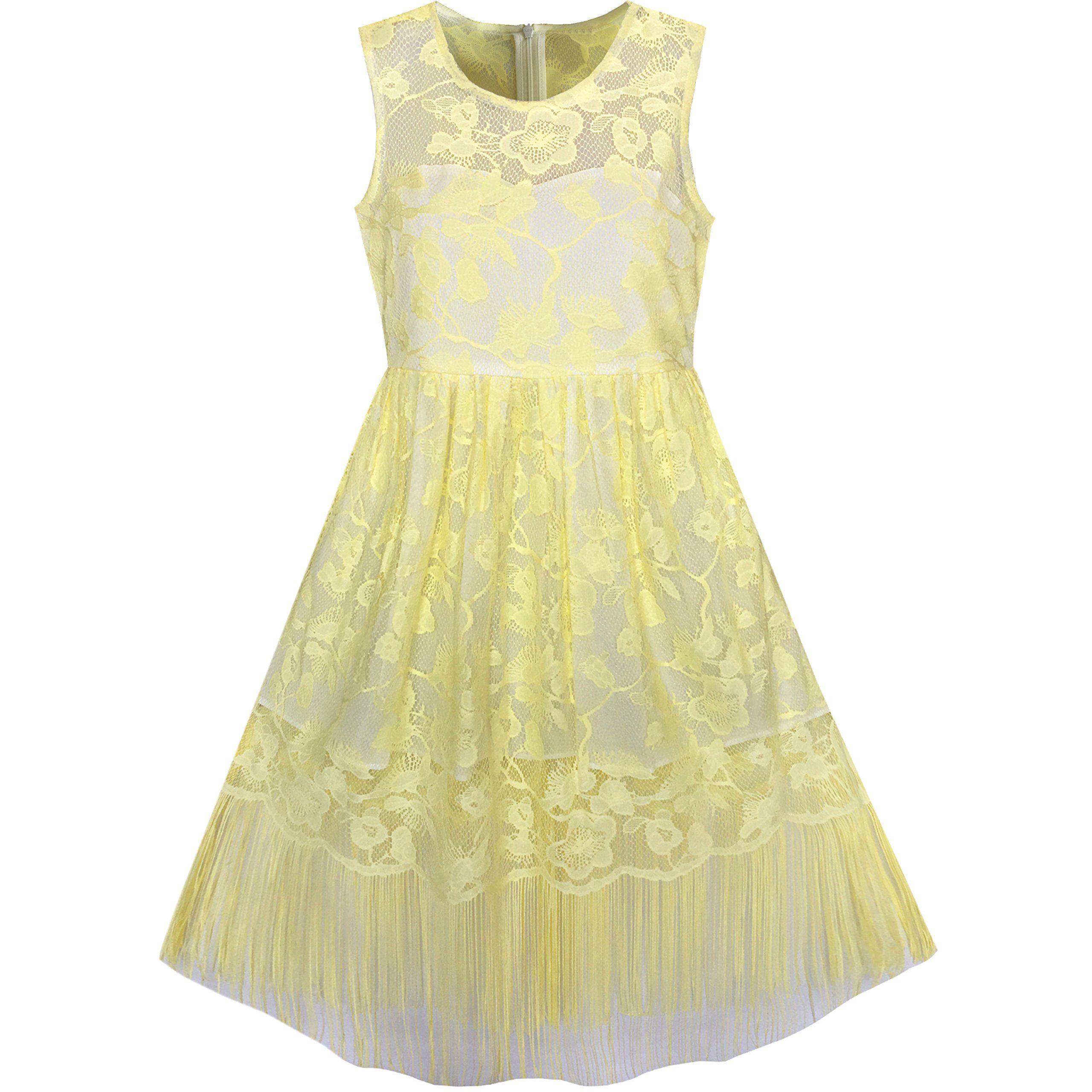 Yellow Cotton Dresses Tea Length