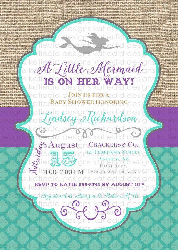Mermaid Baby Shower Invitation Bridal By Katiedidesigns