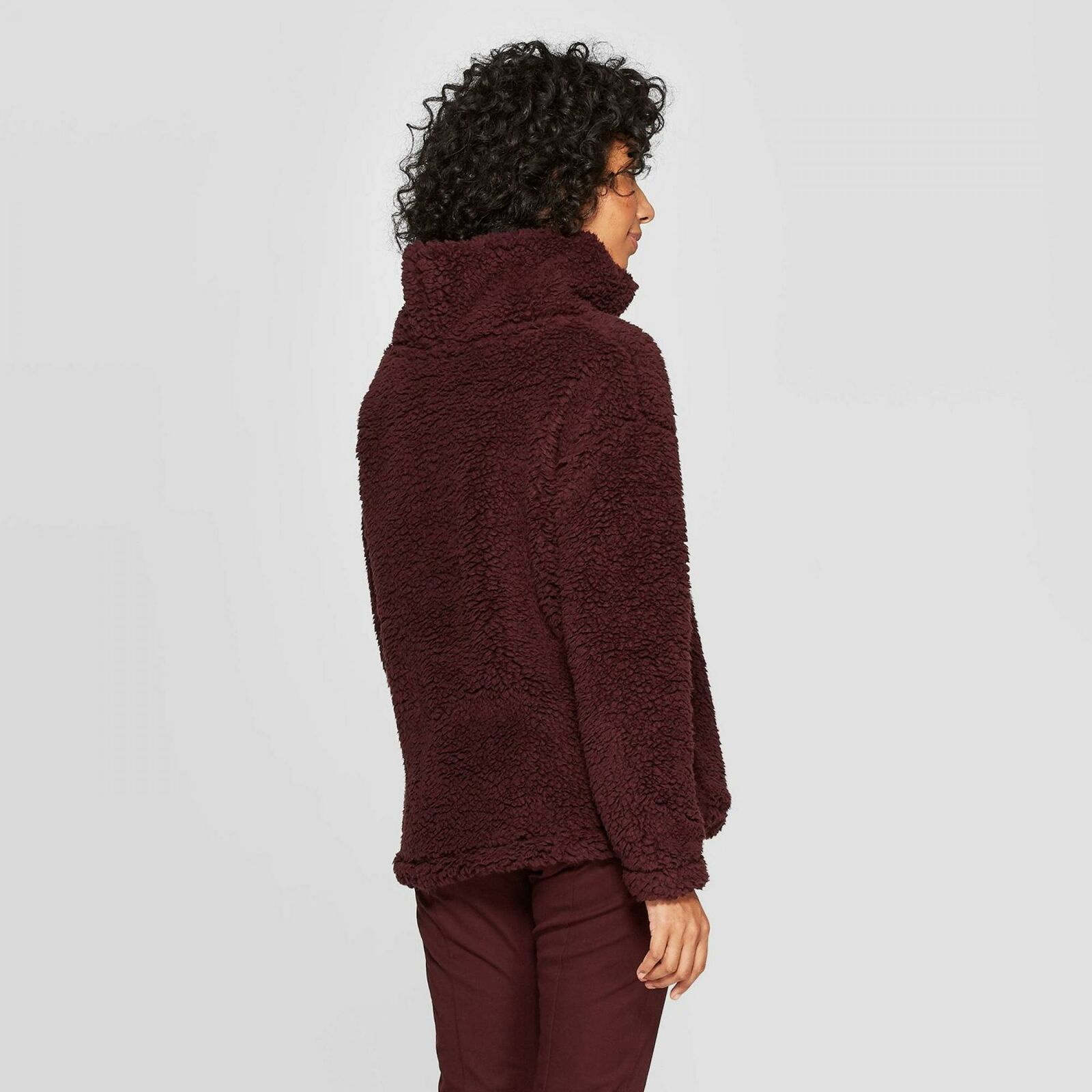A New Day Women's Any Day Turtleneck Sherpa Pullover Sweatshirt Burgundy S