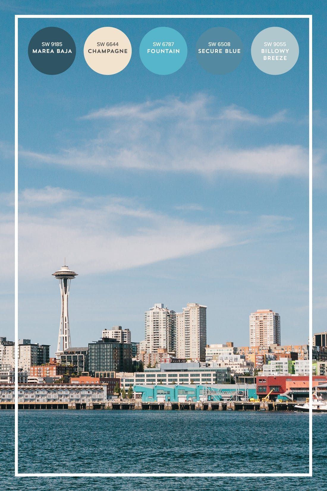 The Color Lover's Travel Guide to Seattle #cityloftsherwinwilliams We've rounded up a Seattle-inspired color palette, from ocean blues, grays + off white, to make sure your home is filled with colorful inspo. #ad #cityloftsherwinwilliams
