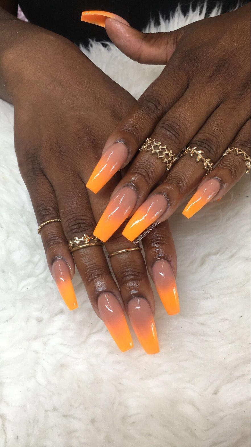 Orange Ombre Coffin Nails Lilac Nails Orange Nails Nails